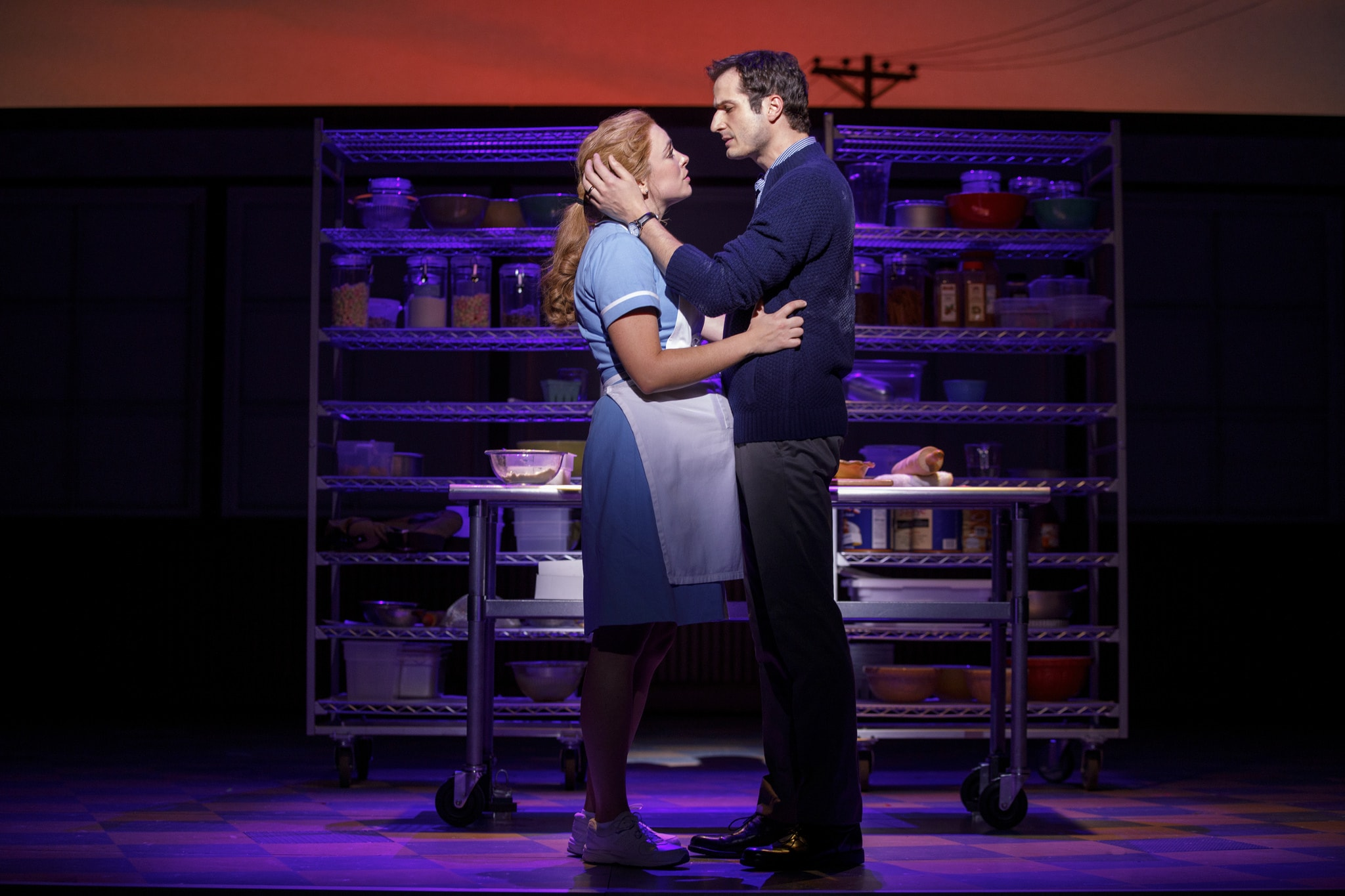 Desi Oakley and Bryan Fenkart in the National Tour of WAITRESS – Photo Credit Joan Marcus