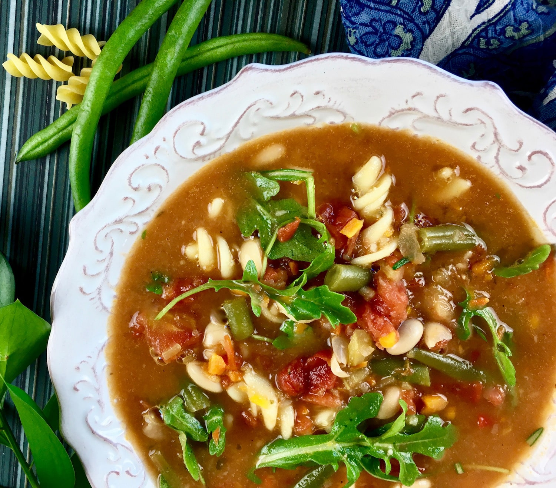Hearty Minestrone Soup with Fresh Arugula Horizontal